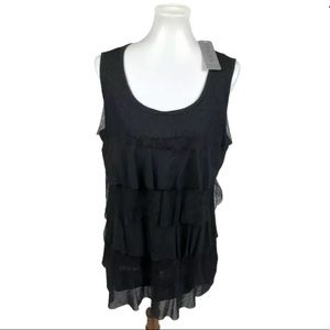 NEW Chico's Black Lace Tiered Heirloom Tank 3 = XL